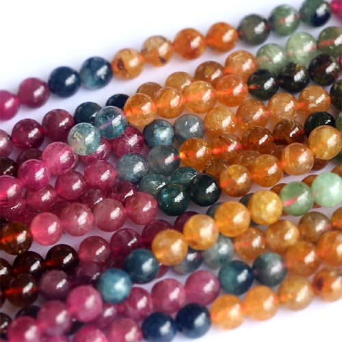 "Natural Genuine Pink  Yellow Green Purple Multicolour Brazil Tourmaline Round Beads 5.7mm 16"" 04037"