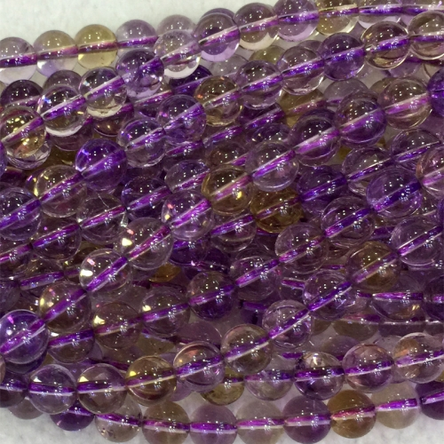 "AAA High Quality Natural Genuine Purple Yellow Ametrine Round Loose Gemstone Beads 4mm, 6mm, 8mm, 10mm, 12mm 16"" 04098"