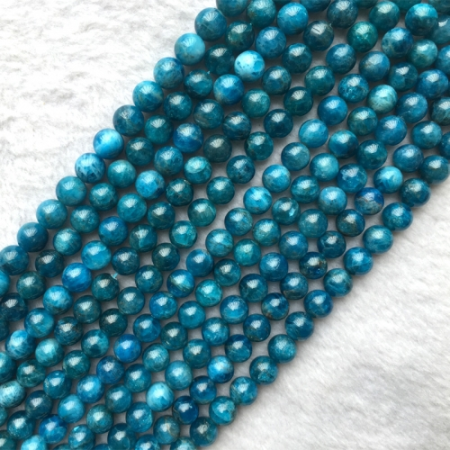 "Natural Genuine Blue Apatite Phosphorite Round Loose Gemstone Jewelry Beads 6mm 8mm 10mm 12mm 16"" 05648"