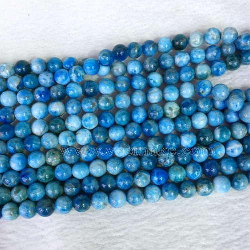 "Natural Genuine Madagascar Blue Apatite Round Jewellery Loose Ball Beads 6mm 8mm 10mm 12mm 15.5"" 05397"