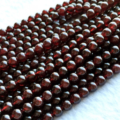 "High Quality Natural Genuine Dark Red Garnet  Round Loose Gemstone Beads  6mm 16"" 05730"