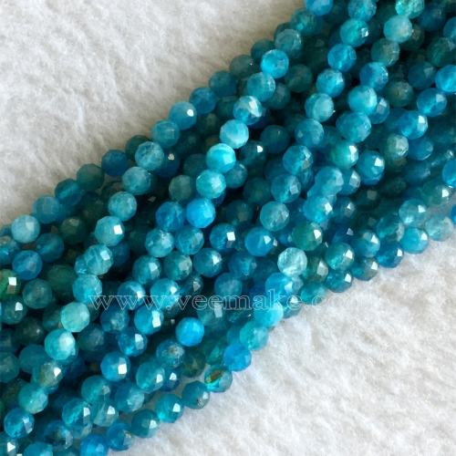 "AAA High Quality Genuine Natural Blue Apatite Faceted Round Small Necklace Bracelets  Beads  16"" 05739"