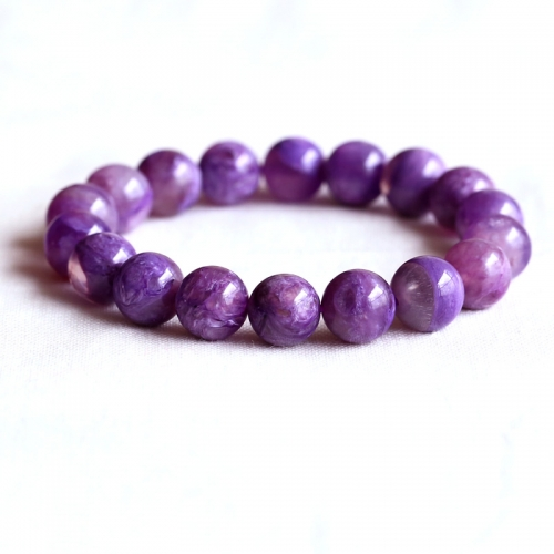 AAA High Quality Russia Natural Genuine Clear Purple Charoite Stretch Finish Bracelet Round beads 11mm 05096