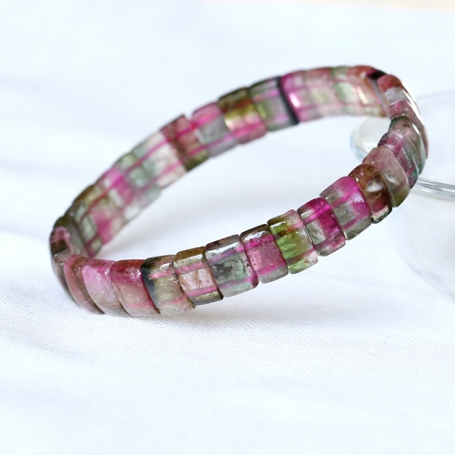 Brazil Natural Genuine  Colorful Purple Green Pink Blue Tourmaline Multi-color Bracelet Round beads 10mm 05180