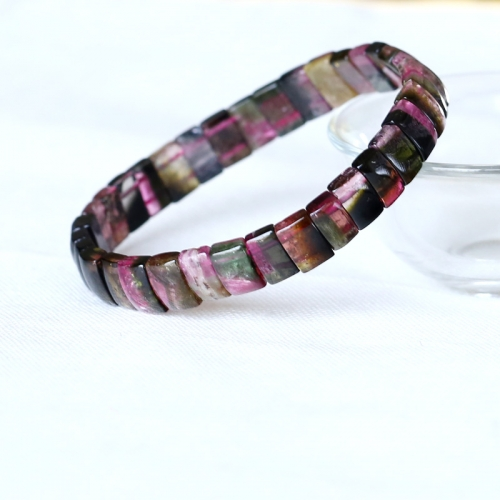 High Quality Natural Genuine Pink Green Watermelon Tourmaline Stretch Bracelet Flat Rectangle Beads 05029