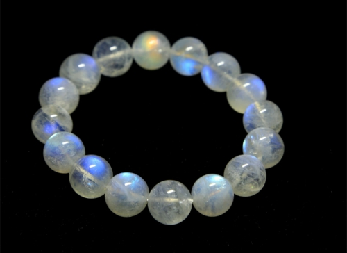High Quality Genuine White Flash Light Rainbow Moonstone Stretch Bracelets Round Beads 6-14mm 02840