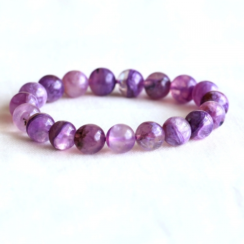 AAA High Quality Russia Natural Genuine Clear Purple Charoite Stretch Finish Bracelet Round beads 10mm 05088