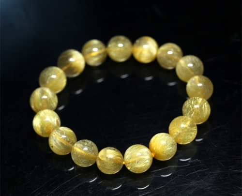 Natural Genuine Clear Yellow Gold Hair Rutile Quartz Stretch Bracelet Round Beads  12mm 04268