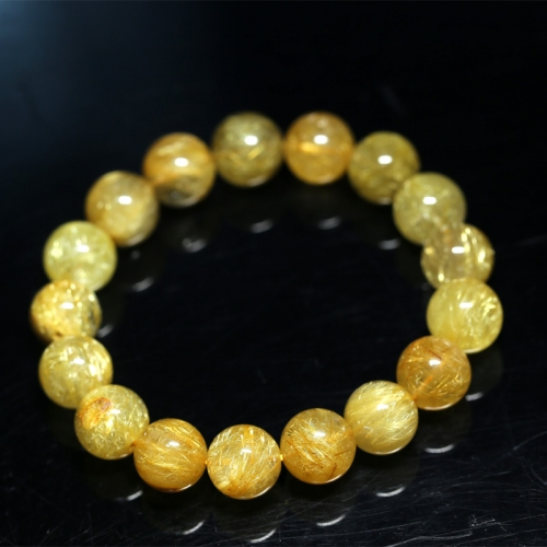 Natural Genuine Clear Yellow Gold Hair Rutile Quartz Stretch Bracelet Round Beads  12mm 04272