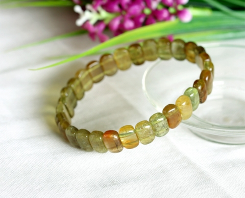 Natural Genuine Clear Cat's Eye Yellow Green Tourmaline Stretch Bracelet Rectangle Beads 03602