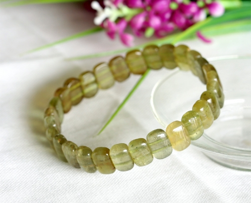 Natural Genuine Clear Cat's Eye Yellow Green Tourmaline Stretch Bracelet Rectangle Beads 6x10mm 03603
