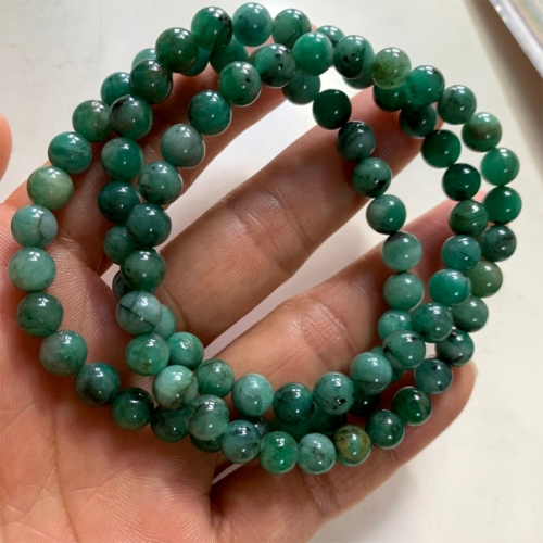 Genuine Natural Emerald Green  Semi-precious stones Round Necklaces Bracelets Beads 6.5mm 8mm  06353