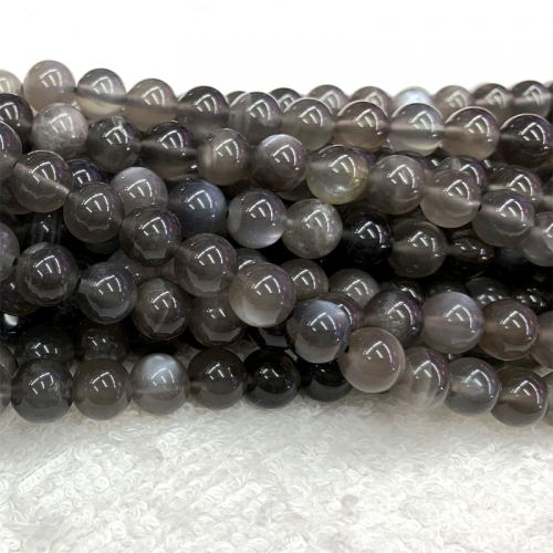 "15.5"" High Quality Genuine Natural Black Moonstone  flash light Round Loose Gemstone Ball Beads 6-10mm 06371"