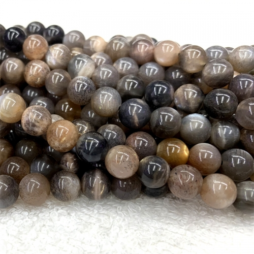 "16"" High Quality Real Genuine Natural Gray Black Gold Sunstone  flash light Round Loose Gemstone Ball Small Beads 6-10mm 06373"