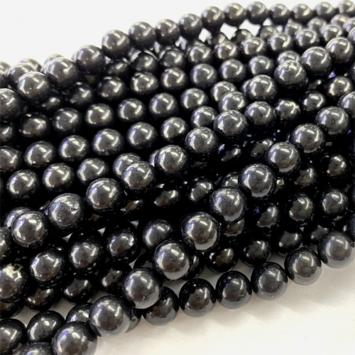 "16"" natural genuine Russian  black shungite round diy jewelry necklace bracelets beads 06369"
