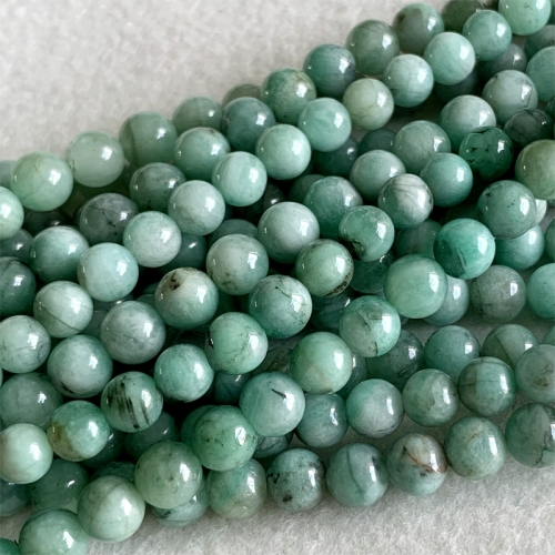 Genuine Natural Emerald Green  Semi-precious stones Round Necklaces Bracelets Beads 6mm 06364