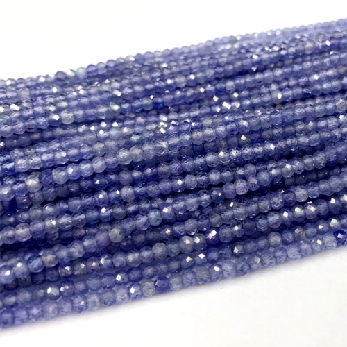"15.5"" AAA High Quality Genuine Natural Purple Blue Tanzanite Hand Cut Faceted Rondelle beads 06379"