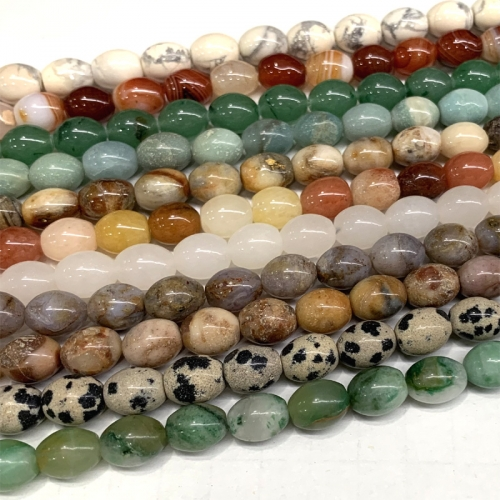 "16"" Natural Stones Amazonite Jade Agate onyx Jasper DALMATION  pietersite Howlite Rice beads small Rice beads 8x10mm A006433"