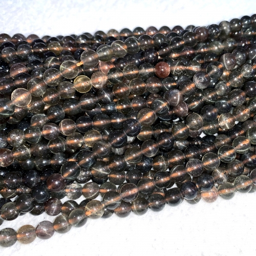 "16"" Natural Genuine Brown Red Chrysoberyl Andalusite Cats eye Round Loose Gemstone Jewelry Beads 06457-1"