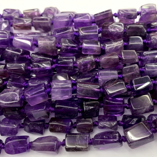 Natural Genuine Clear Dark Purple Amethyst Nugget Free Form Loose Smooth Necklace Bracelet Jewelry Beads 06469