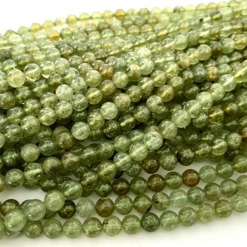 "16"" Natural Genuine Green Garnet Tsavorite Round Loose Gemstone Jewelry Necklaces Bracelets Gemstones Beads 06503"