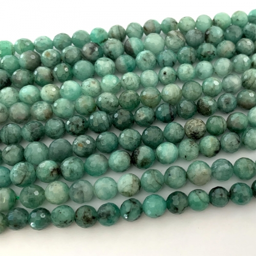 "16"" Genuine Natural Emerald Green  Semi-precious stones Round Necklaces Bracelets Beads 6mm 06507"